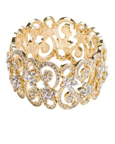 Gold Tone Austrian Crystal Designer Bracelet Jewelry Nexus. $25.66. Austrian Crystal. Stretch. Approximate Width 1.25. Base Metal. Free Shipping and Gift Wrapping