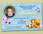 Photo Personalised Winnie The Pooh Birthday Invitations - You Print. $15.00, via Etsy.