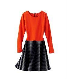 Women's plain and striped jersey dress Scarlett orange / Abysse blue - Petit Bateau - Autumn 2014 Wardrobe