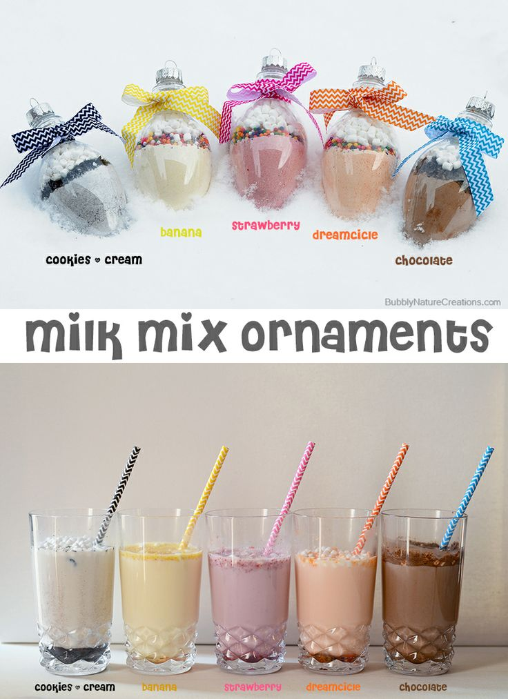 Flavored Milk Mix Ornaments!  Each ornament holds flavored milk mixes that can be combined with milk for a tasty treat!  A great stocking stuffer!