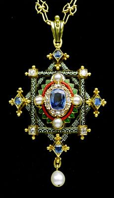 Gold, enamel, sapphire, diamond & pearl - English. Circa 1870