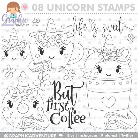 Coffee Stamps Unicorn Stamps Donut Stamps Commercial Use Etsy In 2021 Digital Stamps Unicorn Coloring Pages Coffee Stamps