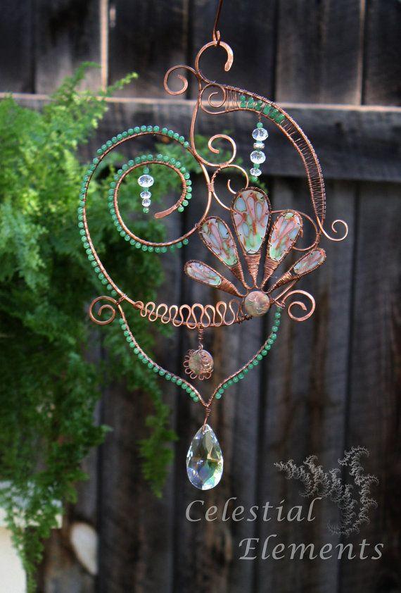 Sun Catcher or window art. Copper wire is by CelestialElementsNM