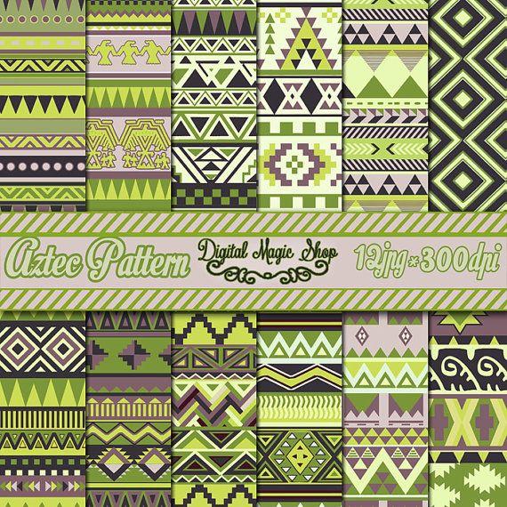 12 Artichoke Tones Aztec Patterns Digital by DigitalMagicShop