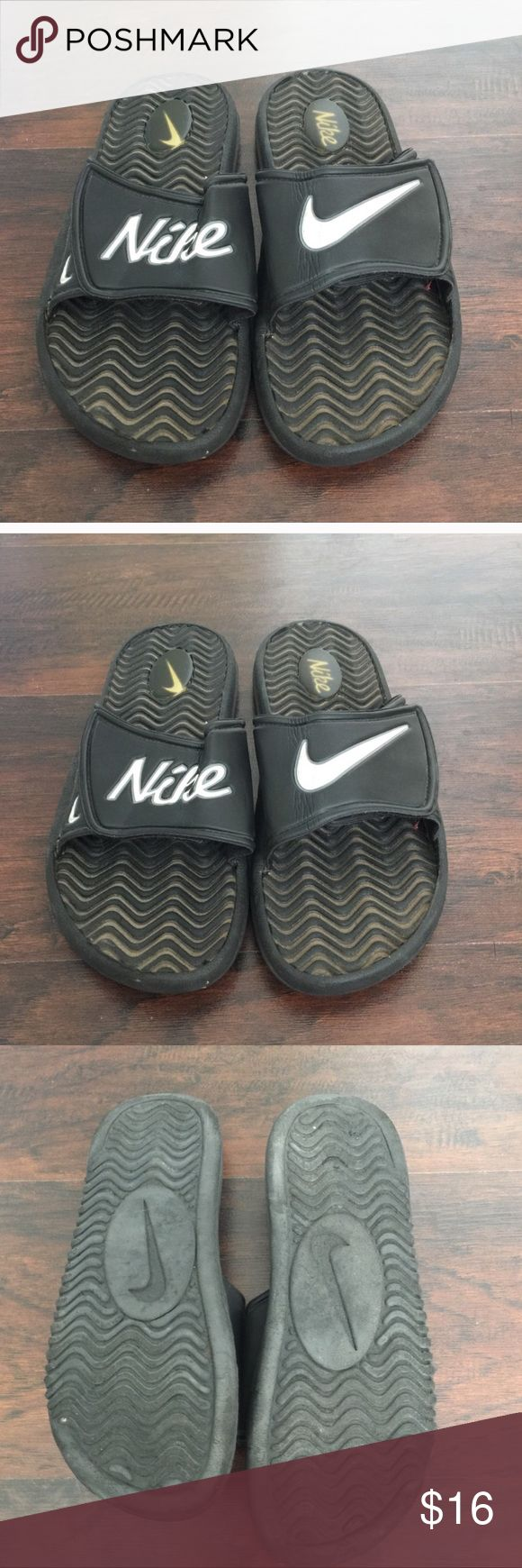 💚 Mens Nike slip on sandals Older pair that I never really wore. In good condition. Velcro straps.  This is a special item!   Our closet is built on quality and quantity!   We want you to get the most bang for your buck!   Add💚💚💚 three $10 items to a bundle for only $22!  Add 💙💙 two $22 items to a bundle for only $32!  Add 💙 one $22 and 💚 one $10 item to a bundle for only $26! Nike Shoes Sandals & Flip-Flops
