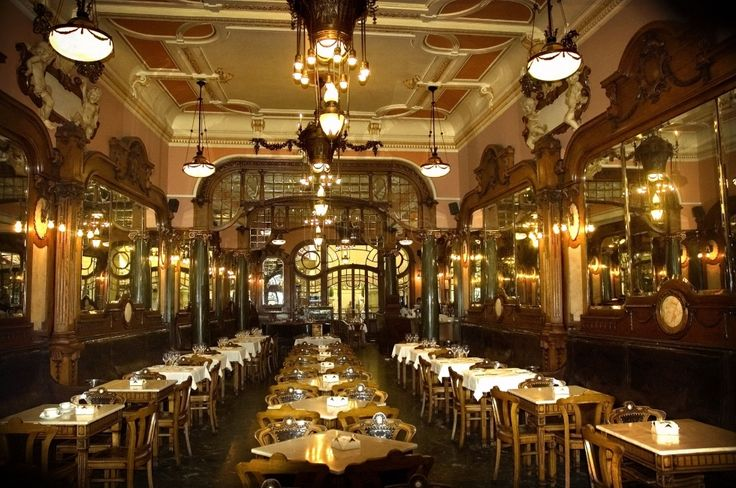 The Majestic Cafe in Porto is situated in an unmissable Art Nouveau building in the city center.    The cafe is located on Porto's lovely pedestrian street, Rua Santa Catarina. Visitors can stop by the Majestic Cafe for a leisurely breakfast, afternoon tea or snack, or a late night meal. Its menu features great Portuguese pastries and other light fare.