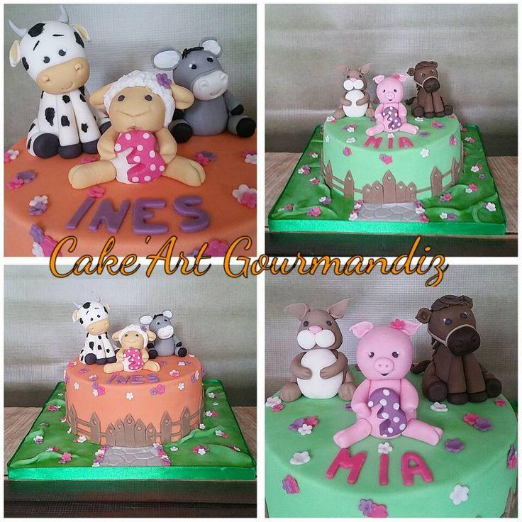Gâteaux d'anniversaire sur le thème de la Ferme pour les petites jumelles Mia et Ines. Génoise citron et ganache vanille. Génoise chocolat et ganache framboise. #cakedesign #cakeartgourmandiz #ferme #animaux #animauxdelaferme #gateauferme #vache #ane #cheval #cochon #lapin #mouton #sugarpaste #pateasucre #fondant