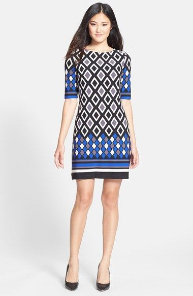 Eliza J Print Stretch Shift Dress available at #Nordstrom