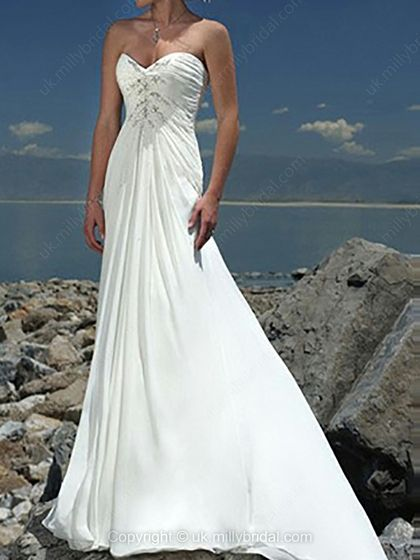 A-line Sweetheart Chiffon Court Train Appliques Wedding Dresses -USD$202.04