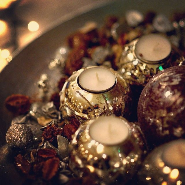 Candles waiting to be lit on Christmas Day.