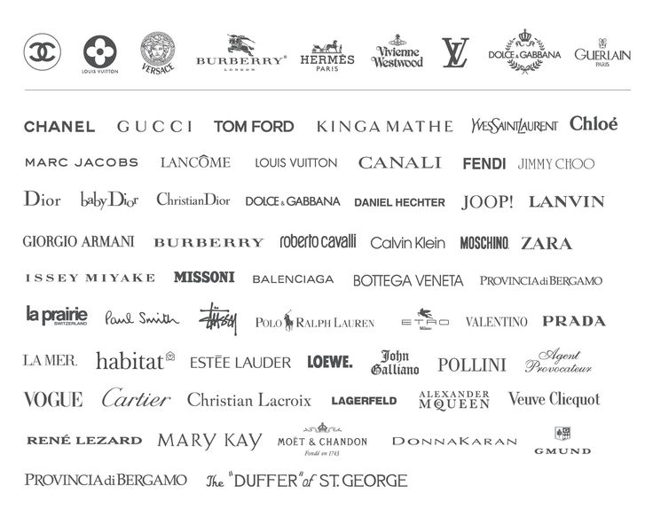 Luxury fashion logos