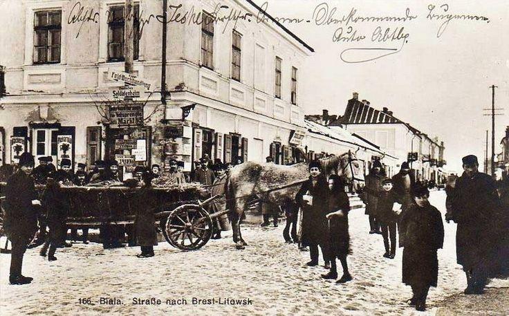 Biała Podlaska, 1916 r. Narożnik Placu Wolności i ul. Brzeskiej.