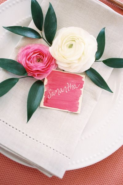 Pretty place card: http://www.stylemepretty.com/living/2015/07/15/diy-watercolor-place-cards/ | Photography: Nancy Ray - http://nancyrayphotography.com/