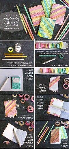 Petit (ou grand !) cahier customisé avec du masking tape. Libre cours à votre imagination !