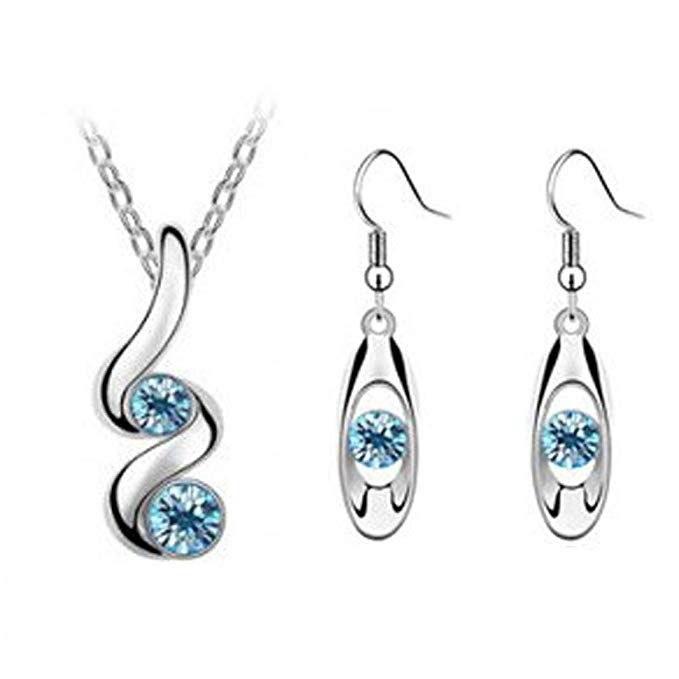 18K WHITE GOLD//P GENUINE CZ /& AUSTRIAN CRYSTAL TURQUOISE NECKLACE//EARRING SET