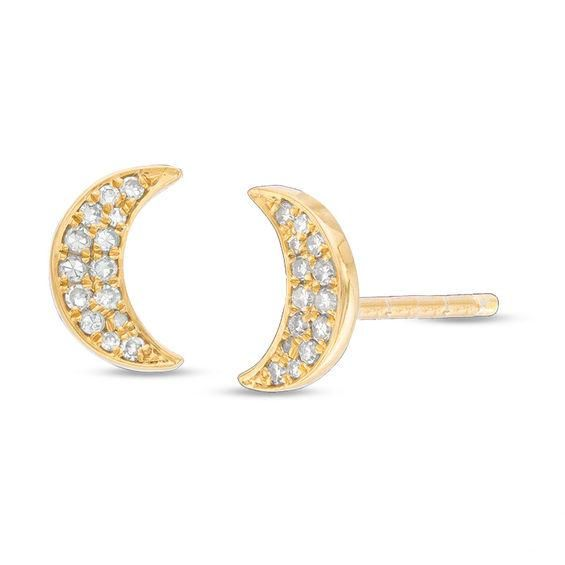 Zales 1/10 CT. T.w. Diamond Crescent Moon Ring in Sterling Silver with 18K Gold Plate qdkmNCTyF