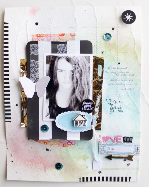 A mixed media, inked, stitched and layered layout by Jot publisher Kim Archer for the Jot blog.
