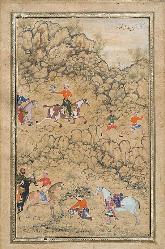 Prince Akbar and Noblemen Hawking, Prince Akbar and Noblemen Hawking, Probably Accompanied by His Guardian Bairam Khan, attributed to 'Abd al-Samad, Iranian (Shiraz), circa 1555-8. Opaque watercolor and ink on paper, 36.2 x 24.3 cm. Image courtesy of The Metropolitan Museum of Art.