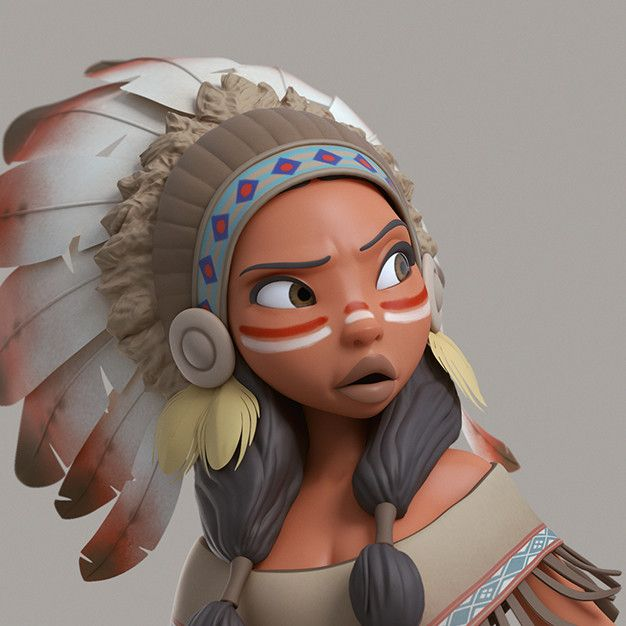 Native American, Jean M. Oliveira on ArtStation at https://www.artstation.com/artwork/zm0z4