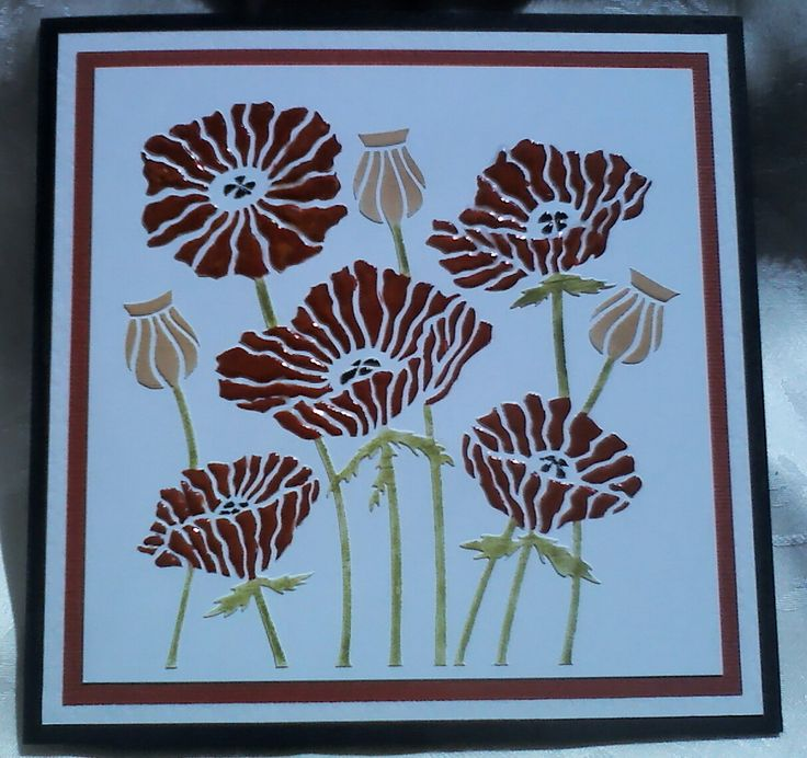 Lynne Lee - Clarity Stamps poppy stencil with texture paste. Poppies are coloured with gouache then covered with clear embossing powder, all other areas coloured with distress inks. #cardmaking #papercraft