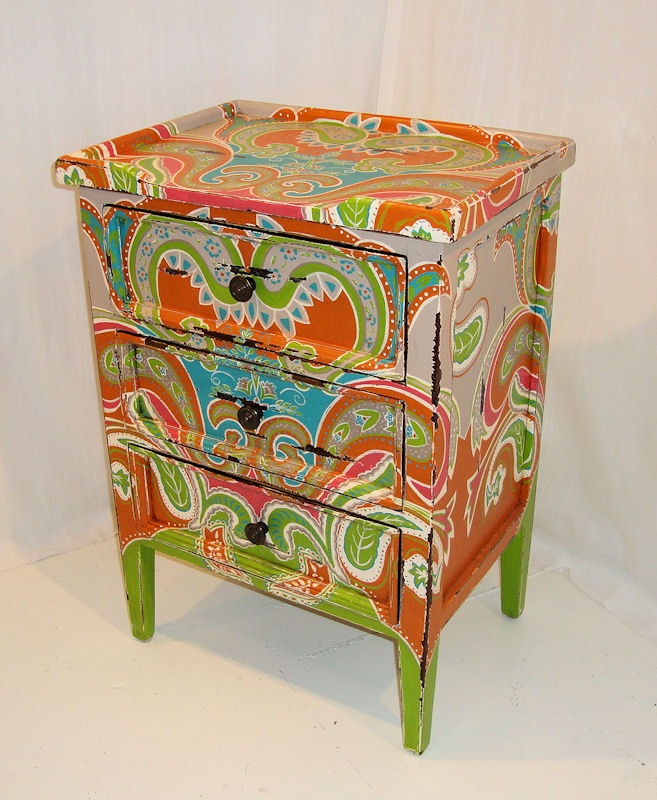 Distressed 3 drawer indian paisley side table - UK's Elite Furniture Rooms. Another happy paisley!