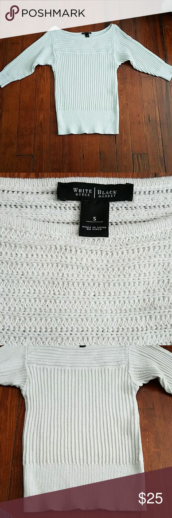 """WHBM White and Gold Sparkly Sweater White sweater with gold sparkles throughout. Boatneck style. In excellent used condition. Underarm to underarm =16"""". Length =26"""". White House Black Market Sweaters"""