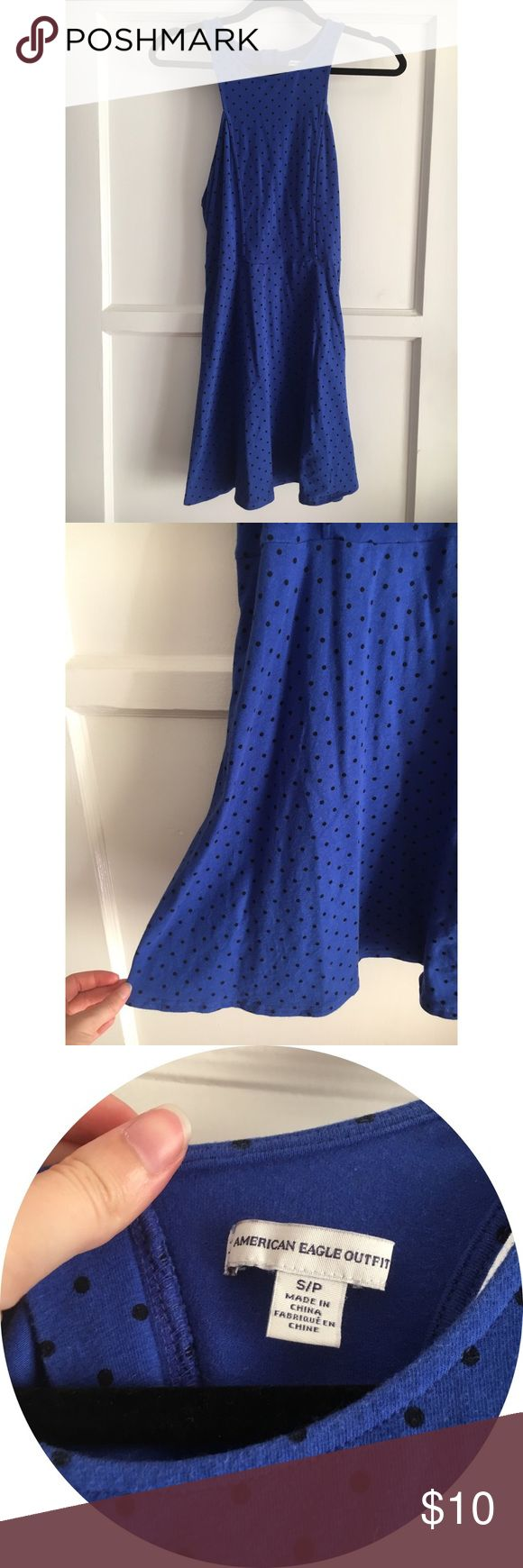 Electric Blue Polka Dot Cut-Out Dress 100% cotton. Razorback with cut out. Worn a couple times. American Eagle Outfitters Dresses Mini