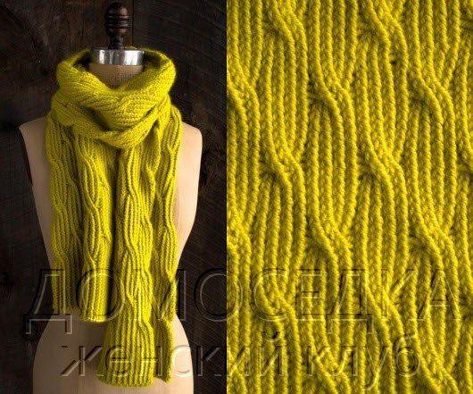 длинный шарф спицами резинкой из скрещенных петель - Самое интересное в блогах
