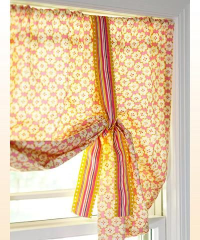 window treatment, not crazy about the color but idea of easy curtain with  ribbon makes