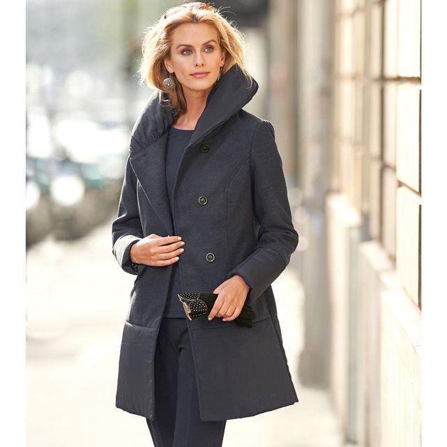 Manteau aspect drap de laine gris chiné Anne Weyburn pas cher prix promo Manteau Femme La Redoute 81.00 € TTC au lieu de 135 €.