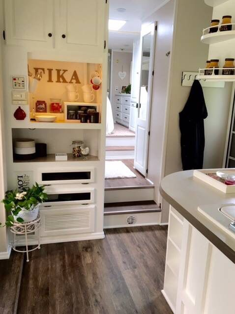 """Our camper!!  We renovated an OLD and trashy camper!!! Now the intertainment place is a """"fika corner""""!!! ( Swedish for coffee corner! :-) ) (Vår nyrenoverade husvagn!!)"""