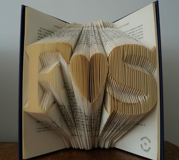 A folded book art with Any 2 initials of your choice and a heart in between. Please leave me a message of the initials while check out.