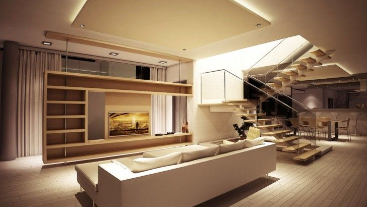 Living Room, Glass Staircase Stairs Pine Living Room Storage Divider Wall Wooden Floor Ceiling Lamps Cream Curtain Plant Vase White Sofa Coffee Table Cushion Stool Dining Chairs Tv Cabinets And Dining Table ~ Luxury Modern Living Room In Amazing House
