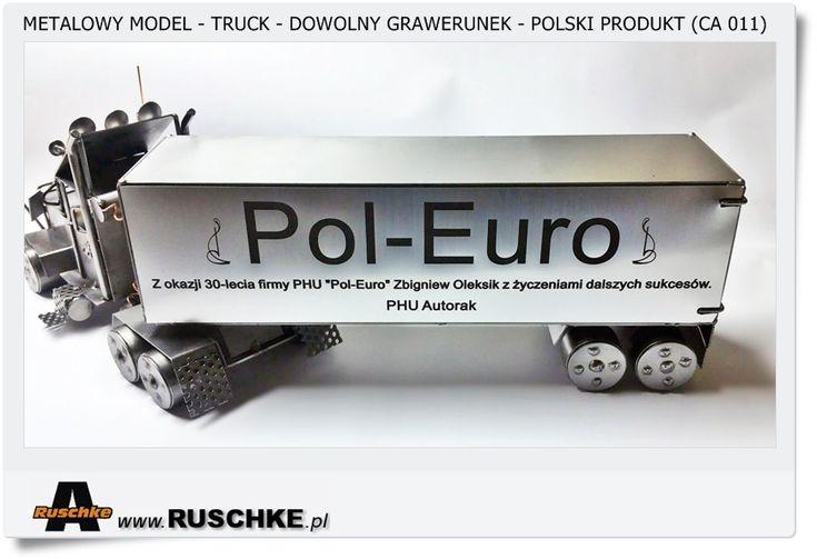 Reklama firmy Metalowy model Ciężarówka Truck z naczepą Metaloplastyka Polski produkt