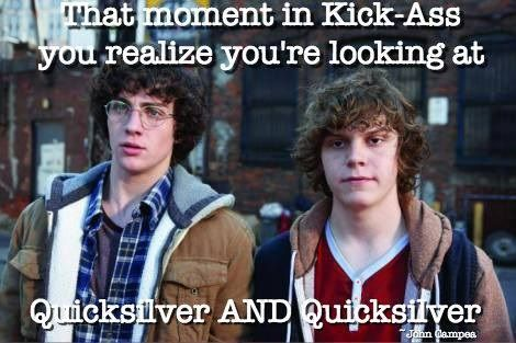 •Aaron Taylor Johnson and Evan Peters were co-stars in the 2010 action flick Kick Ass. Evan Peters went on to play Quicksilver in the film X-Men: Days of Future Past while Aaron Taylor Johnson is playing Qucksilver in Avengers: Age of Ultron. Just a fun fact. • Because I am not letting this go. Like ever.