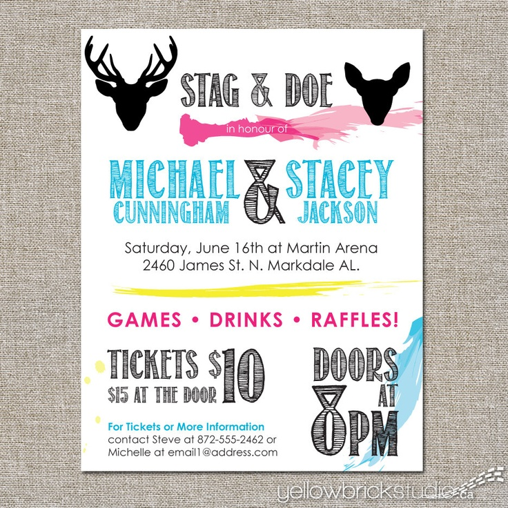Stag and doe tickets painterly 250 double sided for Jack and jill ticket templates