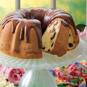 Chocolate Chip Pound Cake Recipe -My mom has been making this cake for 30 years. Dotted with chips and topped with a chocolate glaze, it is absolutely divine, I once got up at 5 a.m. to bake a cake before work so the ladies in my office could enjoy it warm from the oven. They loved it! —Michelle Werts Brookville, Ohio