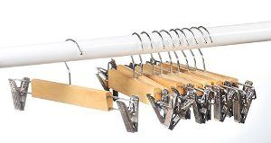 Amazon.com: Home-it (10 PACK) skirt hangers with clips wood hangers clothes hangers: Home & Kitchen