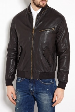 Black Leather Bomber Jacket by McQ Alexander McQueen