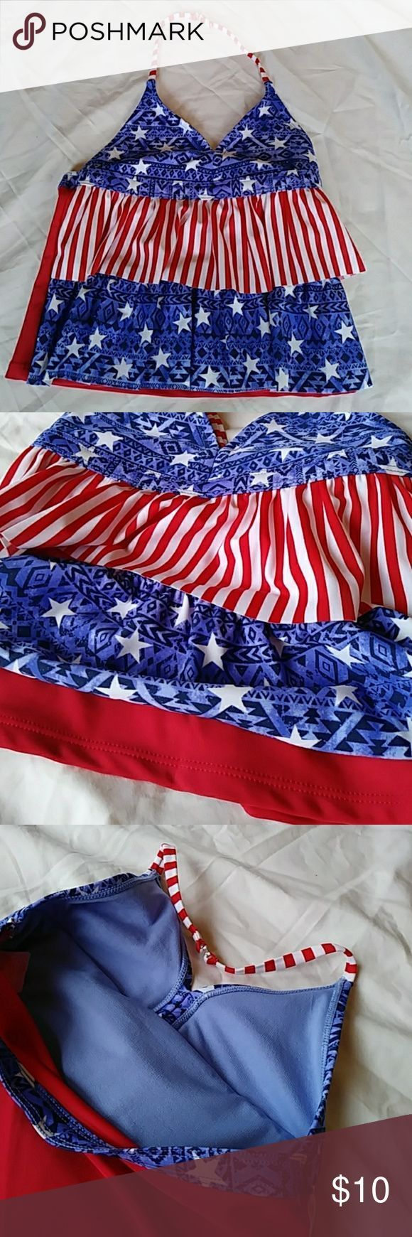 Girl's Tiered Stars and Stripes Halter Swimsuit 🛒🛍️ 🏪 Pop some ta…
