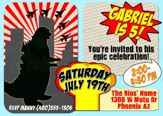 Printable Godzilla Birthday Invitation Monster Invitation Comic Book Invite
