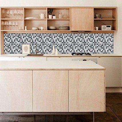 Autocollant muraux pour carrelage mosa que noire pack avec 36 10 x 10 cm - Autocollant pour carrelage cuisine ...