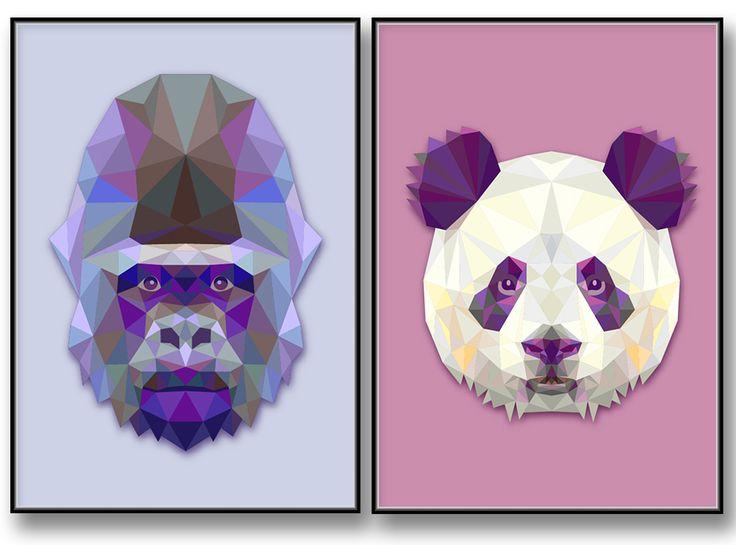 Gorilla. Grafisk och geometrisk tavla Panda. Vacker poster med geometrisk design