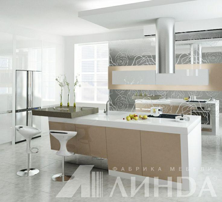 Островная кухня в стиле хай-тек, глянцевый акрил, цвет капучино / Capuccino acrylic modern kitchen