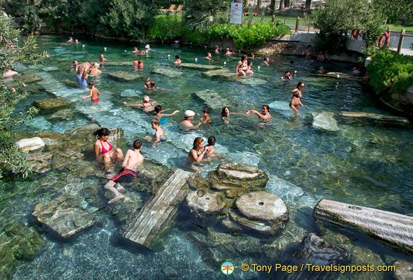 The idyllic Pamukkale Antique Pool is a sacred pool and Cleopatra is believed to have swum here.