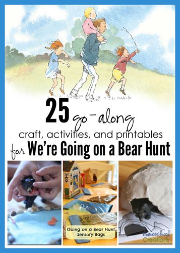 We're Going on a Bear Hunt activities, crafts, printables, and cooking ideas for a unit - from Homeschool Creations