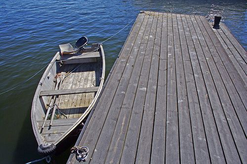 Rowing boat and jetty
