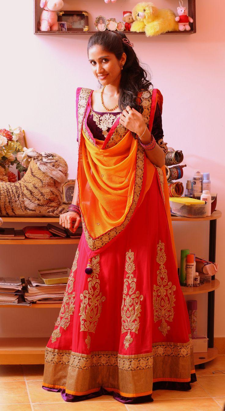 Cuckoo's self designed engagement lehenga! :) Check out her wedding on our blog - http://blackbookfortheindianbride.com/cuckoo-weds-ravi-a-catholic-christian-wedding/