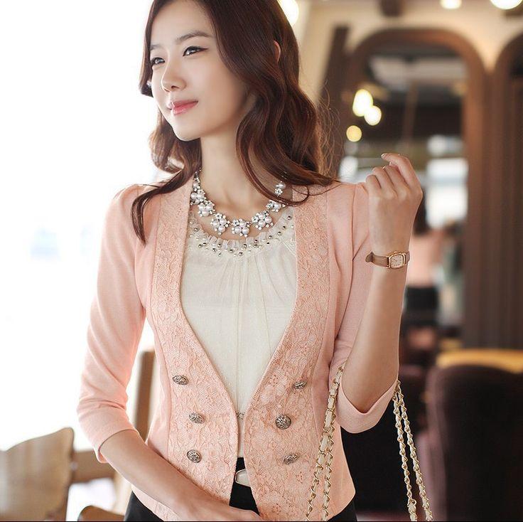 las mujeres 2013 blazers decorado de encaje blazer nuevo de moda manga tres cuartos h342 abrigo