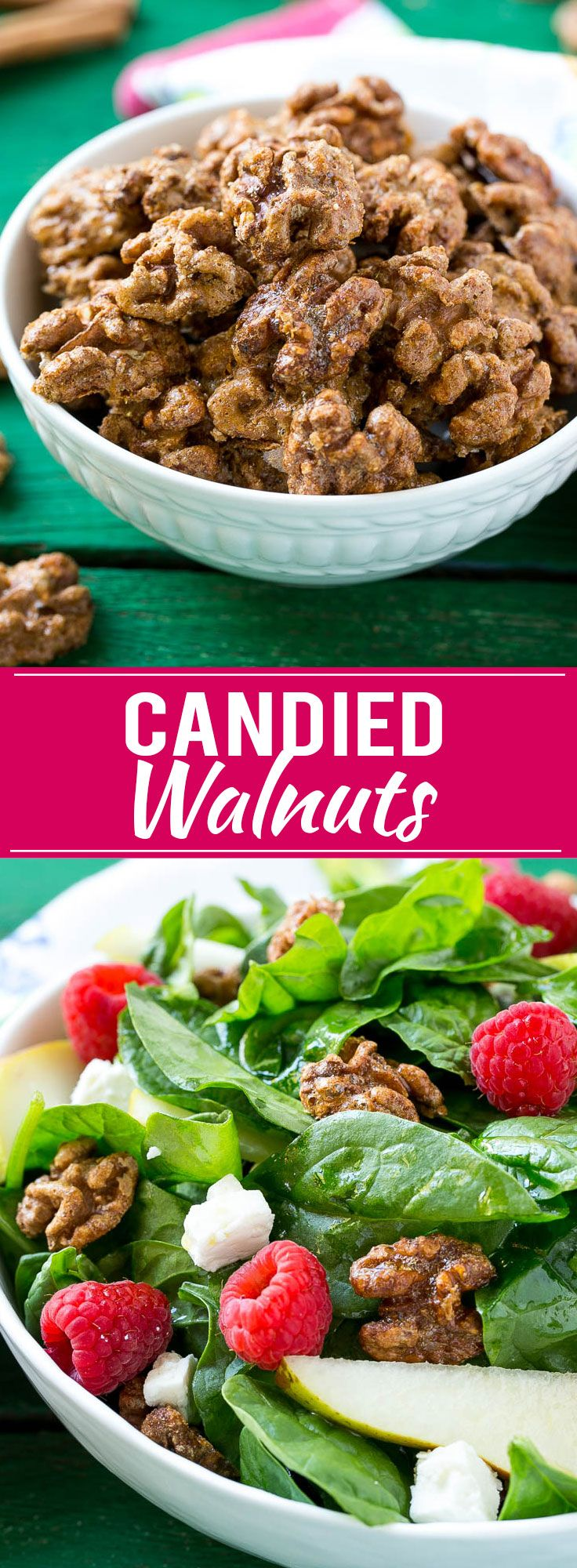 This recipe for candied walnuts is walnut halves coated in a sweet cinnamon sugar mixture and baked to crispy and crunchy perfection. Candied walnuts are perfect for salads, snacking or package them up for a fun homemade gift idea!: